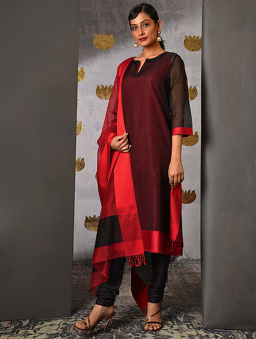 KEN - Black Handloom Maheshwari Kurta with Contrast Border and Slip