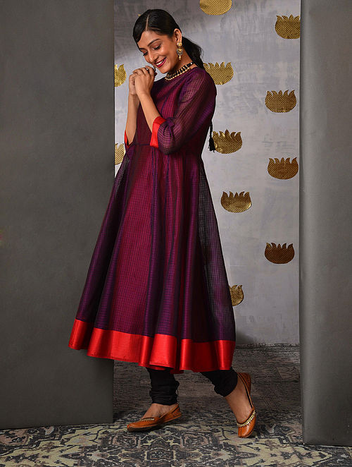 DHASAN - Purple Handloom Maheshwari Kalidar Kurta with Contrast Border and Slip