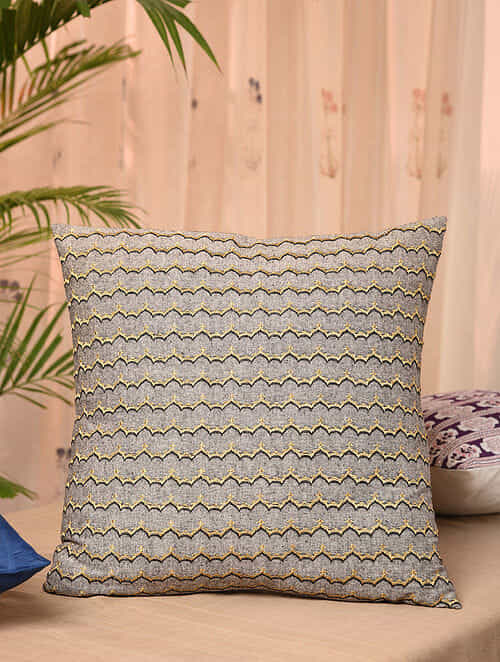 Grey Cotton Chambray Cushion Cover (18inX18in)