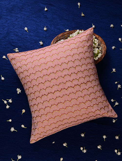 Pink Cotton Chambray Cushion Cover (18inX18in)