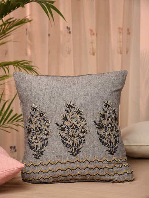 Grey Cotton Chambray Cushion Cover (16inX16in)