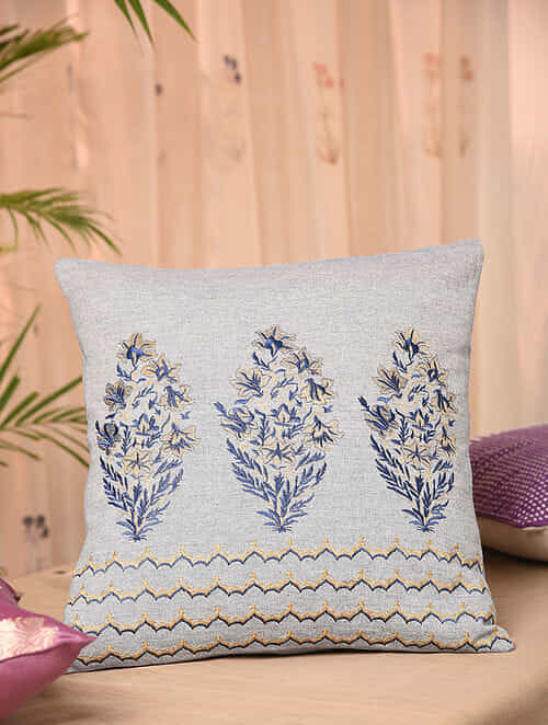 Blue Cotton Chambray Cushion Cover (16inX16in)