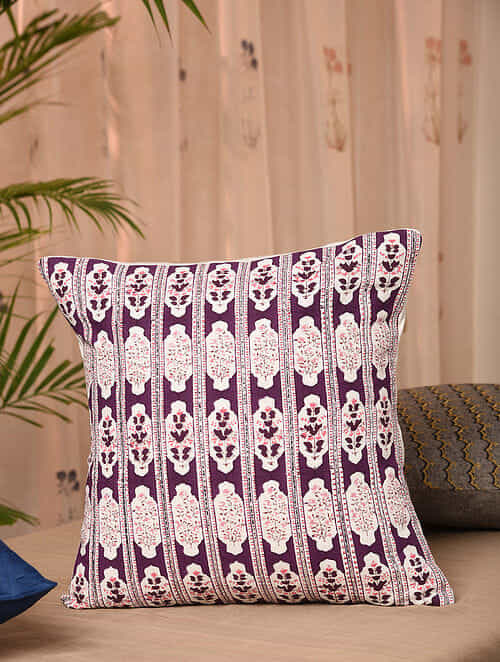Wine Pink Embroidered Handblock Printed Cushion Cover (16inX16in)