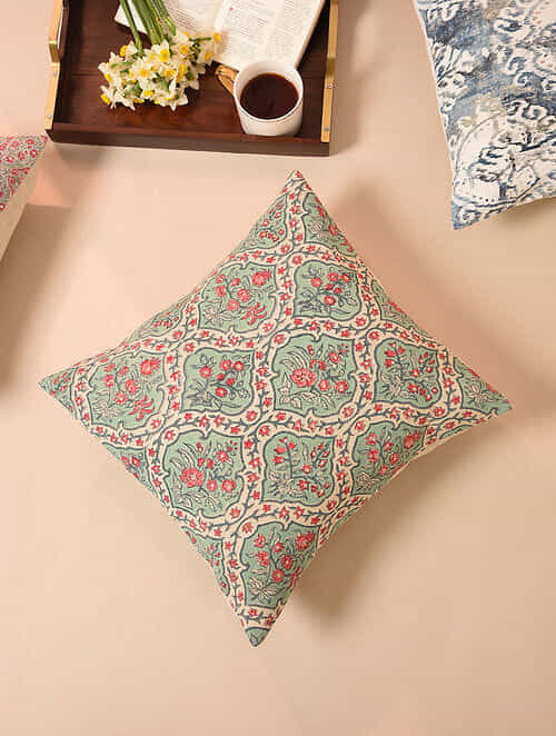Green Pink Embroidered Handblock Printed Cushion Cover (16inX16in)