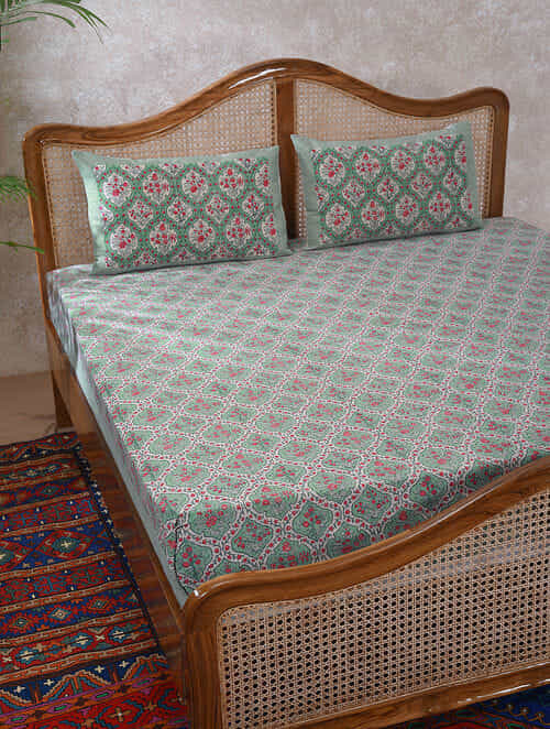 Green Red Handblock Printed Bedcover with 2 Pillow Covers (Set of 3)