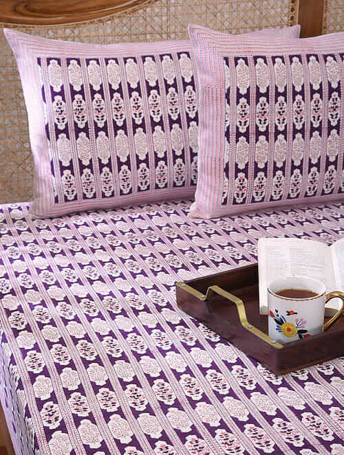 Wine Pink Handblock Printed Bedcover with 2 Pillow Covers (Set of 3)