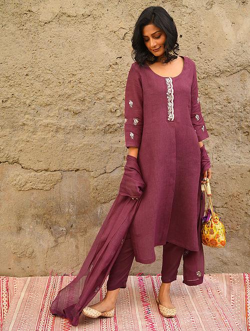 SOSANI - Maroon Embroidered Linen Kurta with Bead Work
