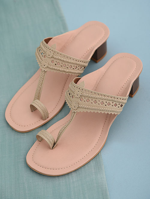 Cream Handcrafted Leather Block Heels