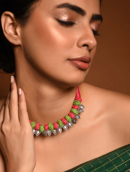 Pink Green Silver Tone Tribal Necklace