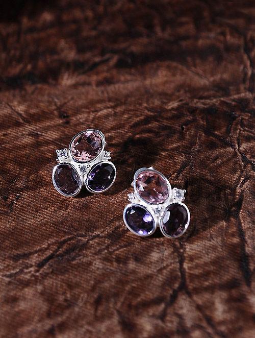 Pink Purple Silver Earrings