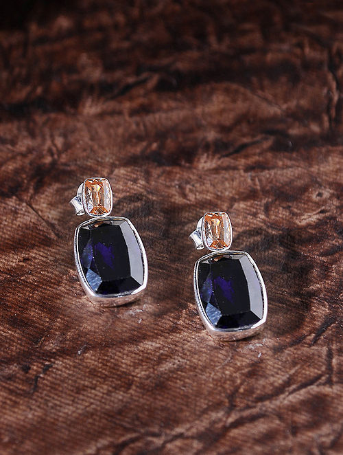 Blue Orange Silver Earrings