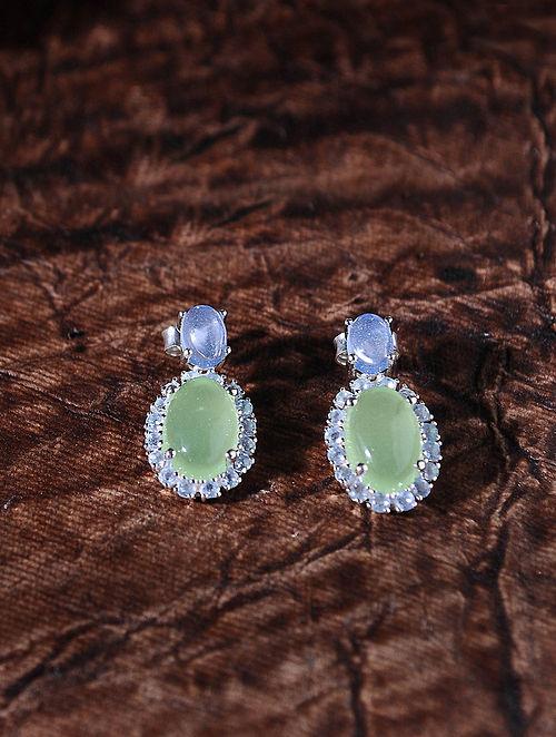 Green Blue Silver Earrings