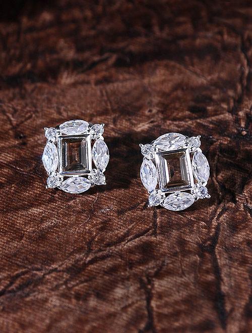 Brown Silver Earrings