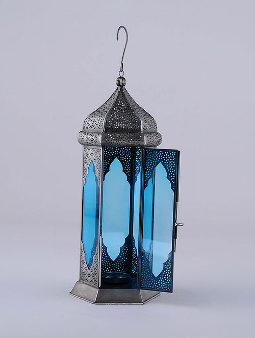 Antique Silver and Teal Handcrafted Lantern