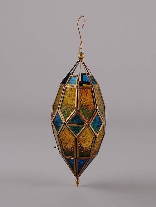 Yellow Blue Hanging Handcrafted Lantern