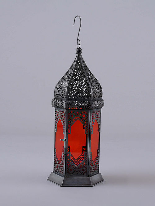 Antique Silver and Red Hanging Handcrafted Lantern