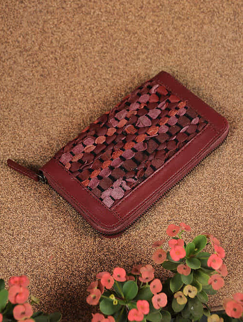 Red Handcrafted Upcycled Genuine Leather Wallet