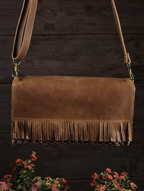 Tan Handcrafted Upcycled Genuine Leather Sling Bag