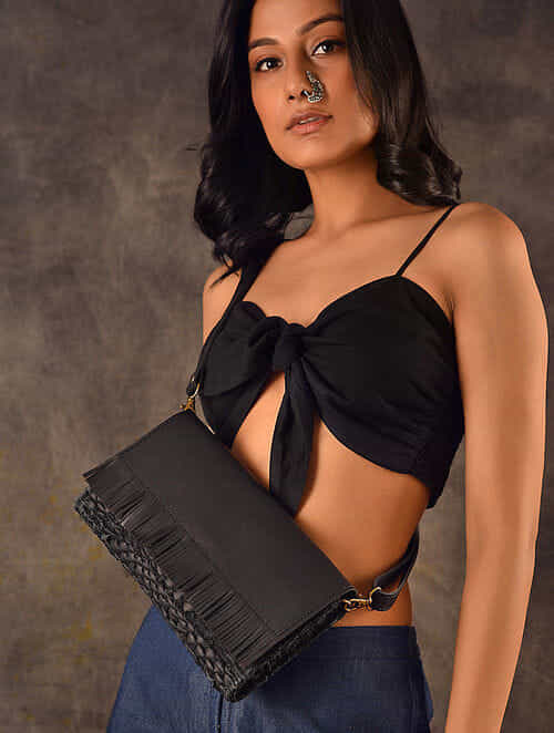 Black Handcrafted Upcycled Genuine Leather Sling Bag