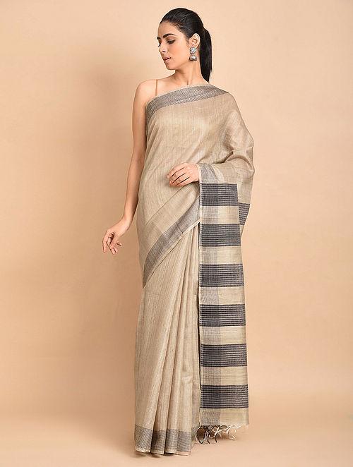 Beige-Black Handwoven Silk Saree