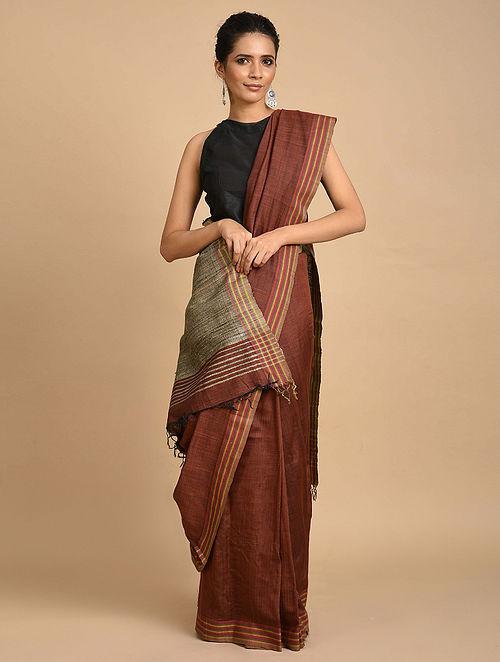 Brown Handwoven Ghicha Silk Saree