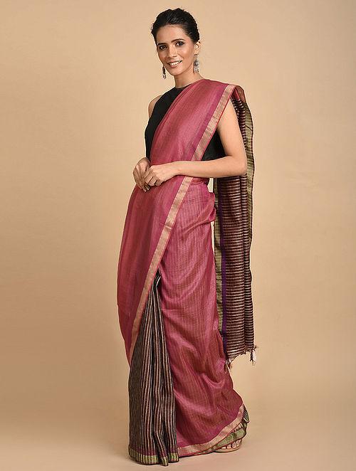 Pink Handwoven Silk Saree