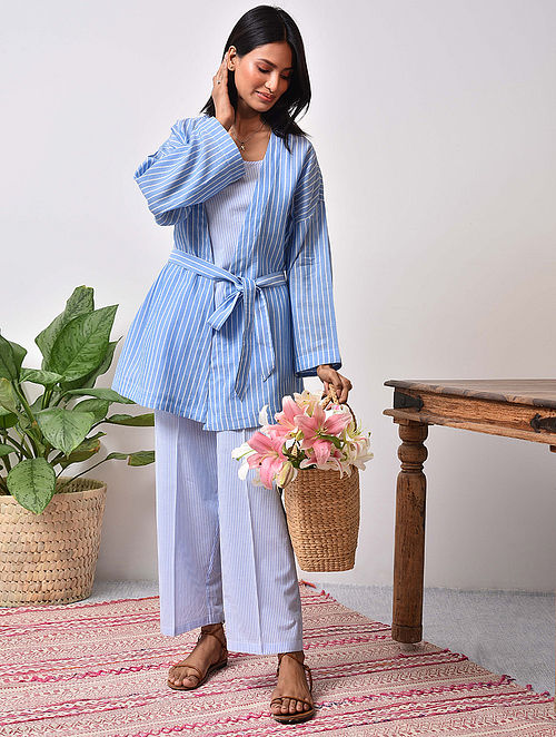 Blue striped Cotton Top with Pants and Cape