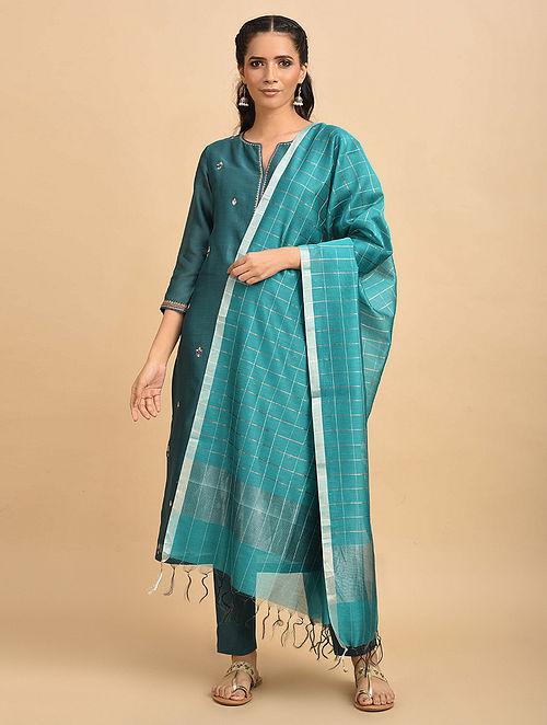 Blue Handwoven Silk Cotton Dupatta