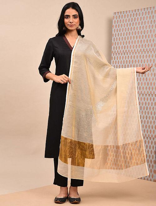 Gold Silk Cotton Dupatta with Mukaish Work