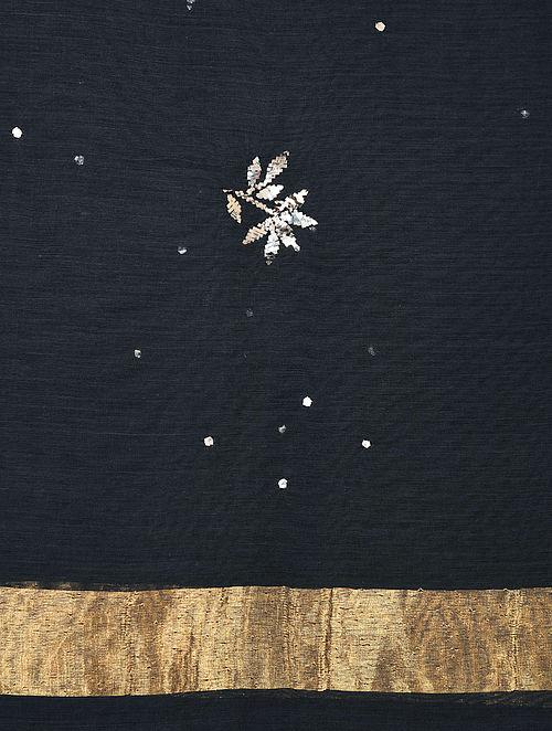 Black Silk Cotton Dupatta with Mukaish Work