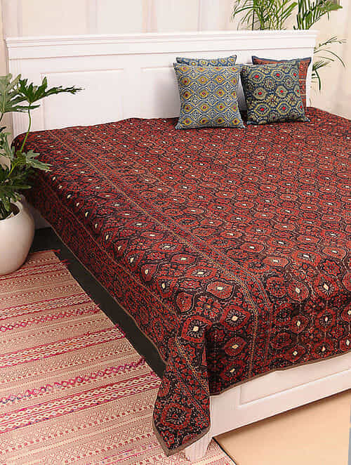 Multicolored Handcrafted Ajrakh Bed Cover (103in X 86in)