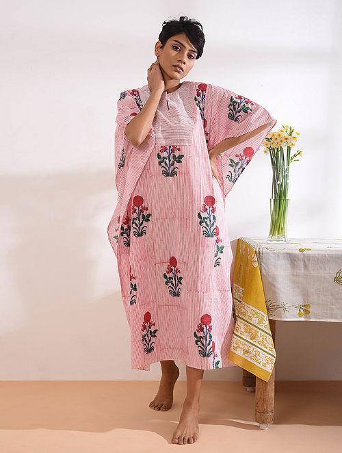 Pink Block Printed Cotton Maxi