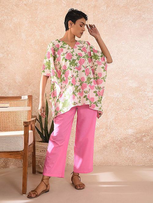Pink Block Printed Cotton Kaftan Top with Pants