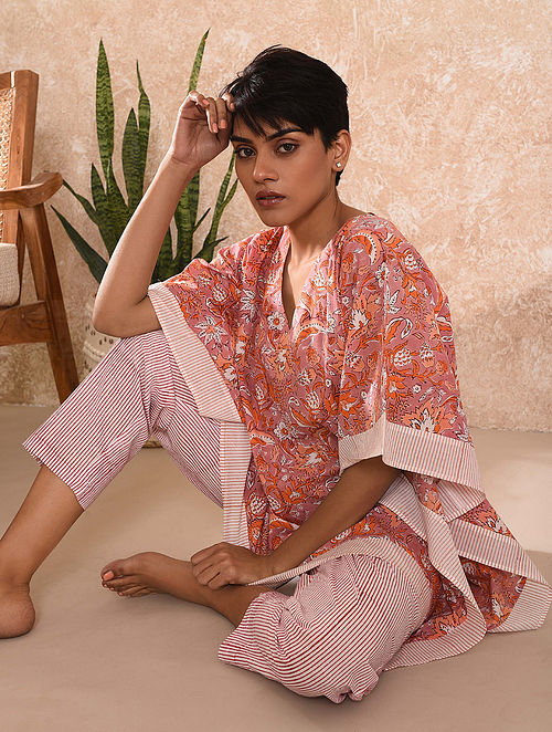Pink Block Printed Cotton Kaftan Top