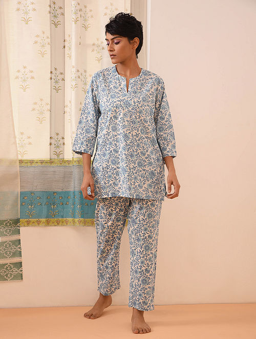 Blue Block Printed Cotton Top with Pants