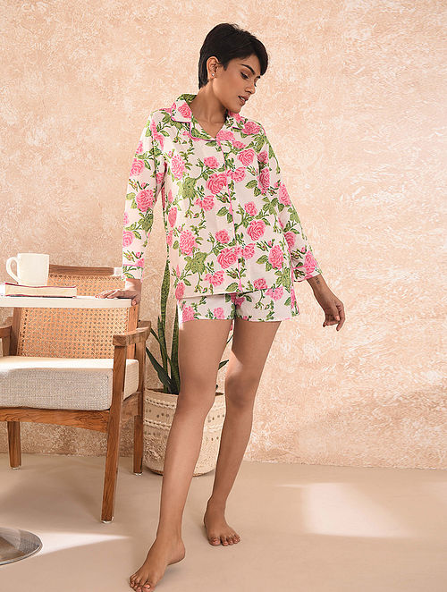 Pink Block Printed Cotton Top with Shorts