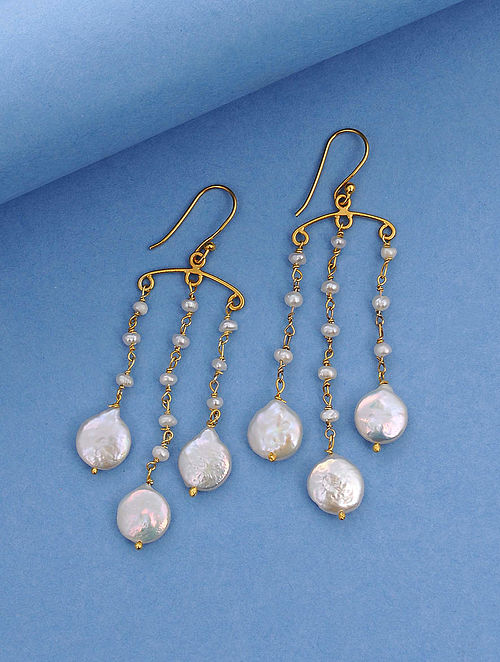 Gold Tone Silver Earrings With Baroque Pearls