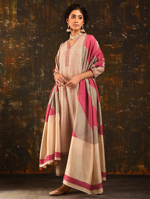 GUL-E-QAASDI - Beige-Red Block Printed Silk Cotton Kurta