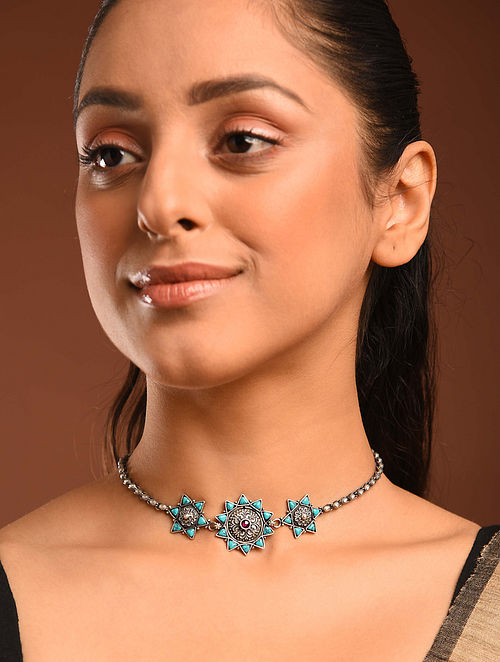 Turquoise Temple Silver Choker Necklace