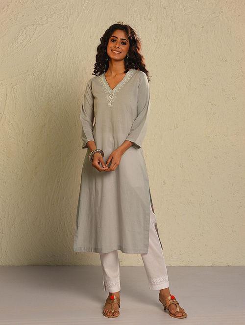 WURUD - Grey Chikankari Embroidered Mirhab Motif Cotton Kurta with Mukaish
