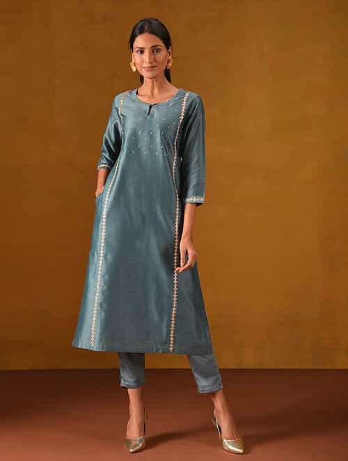 SUWAIM - Teal Blue Silk Cotton Kurta with Gota Patti Embroidery