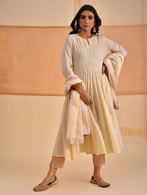 LEYZA - Ivory Block Printed Silk Cotton Kalidar Kurta