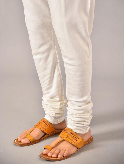 White Tie-up Waist Tussar Cotton Churidar