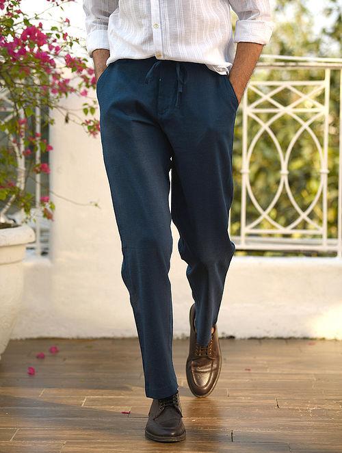 Navy Linen Drawstring Pants with Pockets
