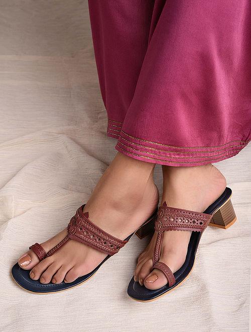 Maroon Handcrafted Leather Block Heels