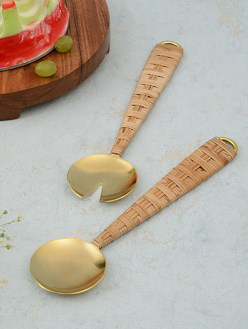 Gold and Light Brown Stainless Steel and Rattan Salad Servers (Set of 2)