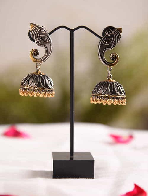 Dual Tone Tribal Jhumki Earrings