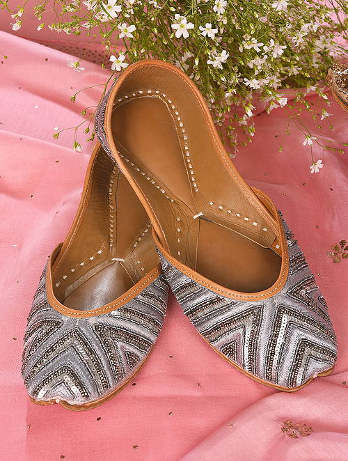 Grey Handcrafted Sequined Leather Juttis