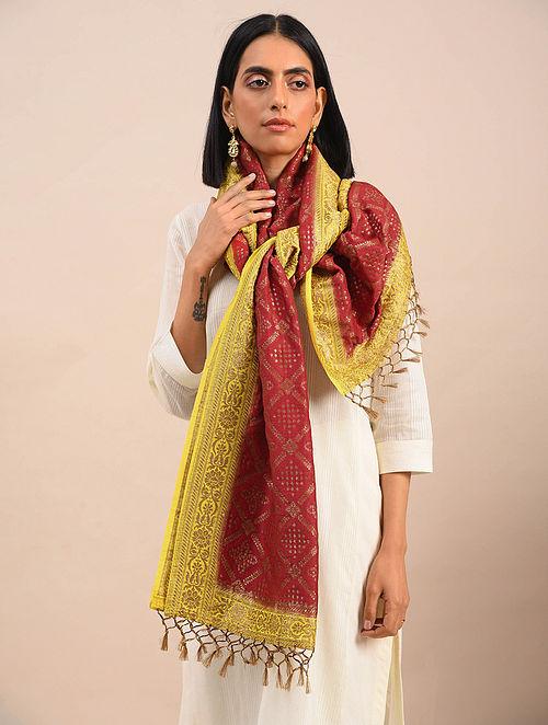 Red-Yellow Handwoven Benarasi Muga Silk Stole