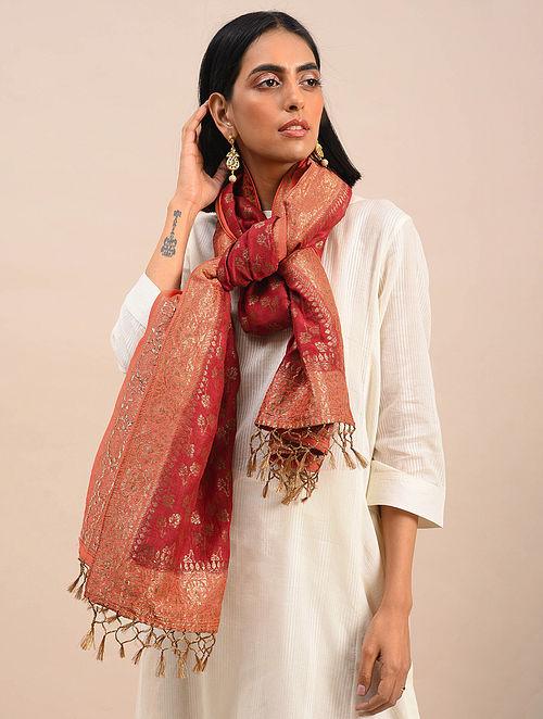 Red Handwoven Benarasi Muga Silk Stole